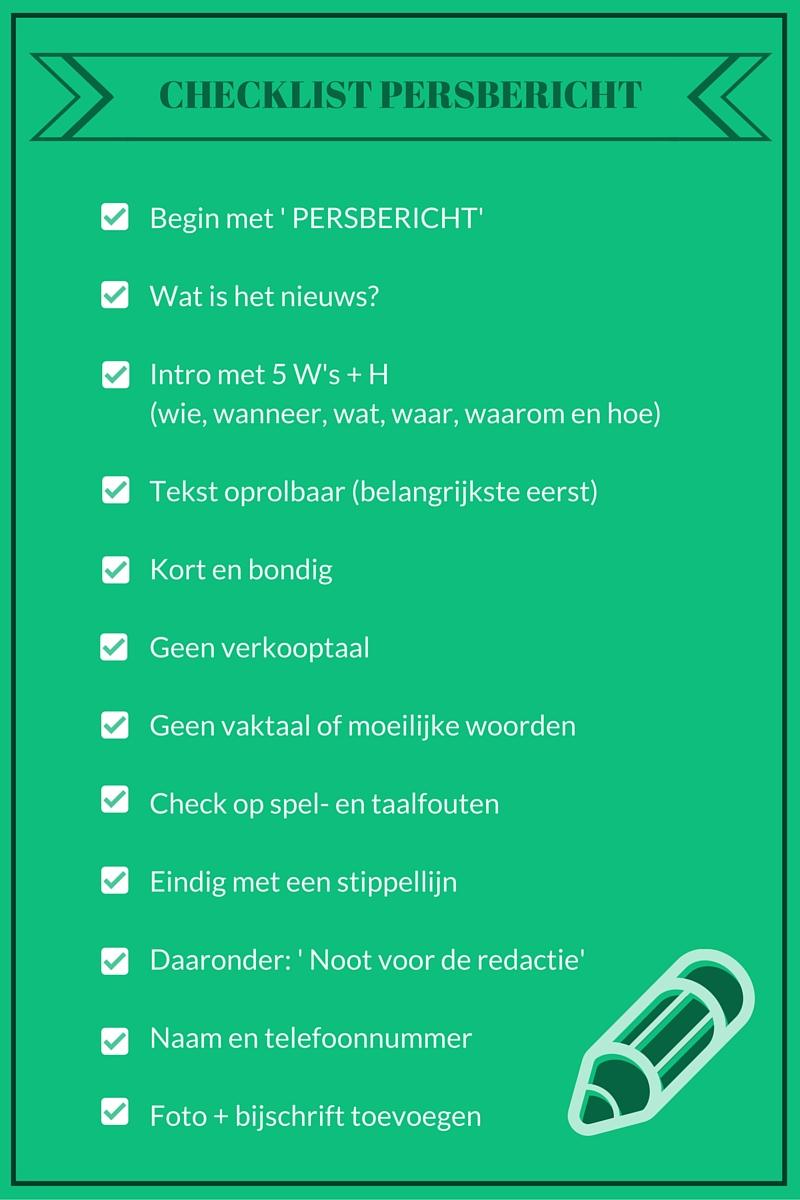 Checklist voor een perbericht