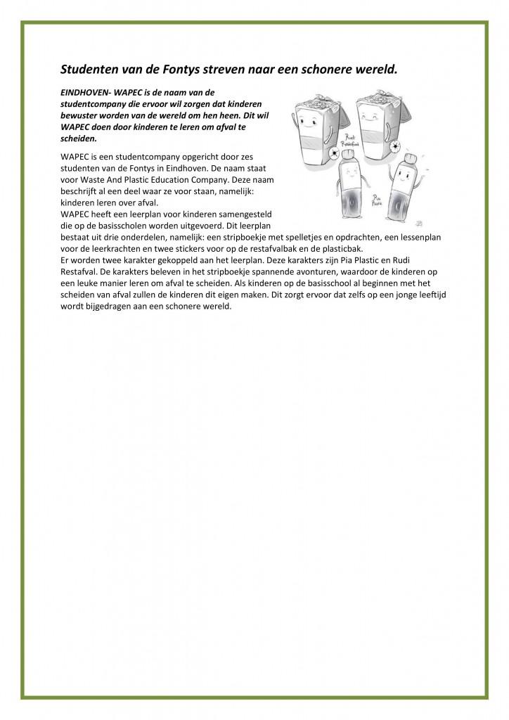 persbericht voorbeeld wapec