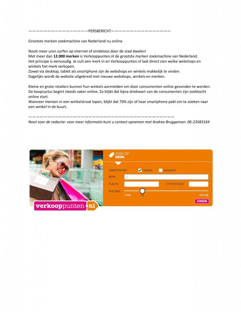 persbericht voorbeeld verkooppunt.nl geredigeerd